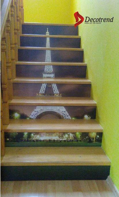 Inšpirácie s tapetami - realizácie v interiéroch - Tapeta na mieru na schodoch