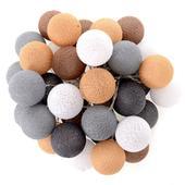 Svetelná reťaz Cotton balls brown beige 35 ks,
