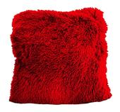 Chlpatá obliečka na vankúš červená,