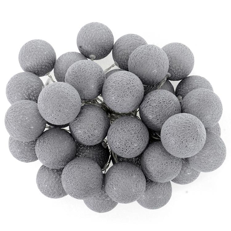 Svetelná reťaz Cotton balls grey 35 ks - Obrázok č. 1