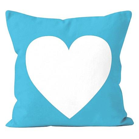 Modrá obliečka na vankúš s motívom srdca LOVE - Obrázok č. 1