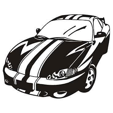 Biela nálepka Pretekárske Auto 60x36cm - Obrázok č. 1