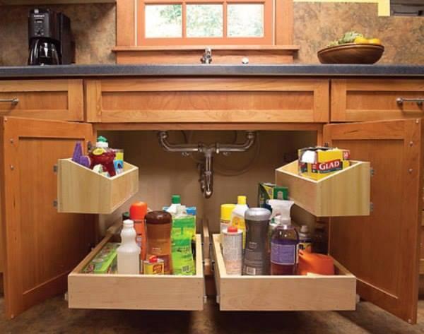 Vychytávky do kuchyne a interiéru - ukážka ako sa dajú uložiť čistiace prostriedky pod drez