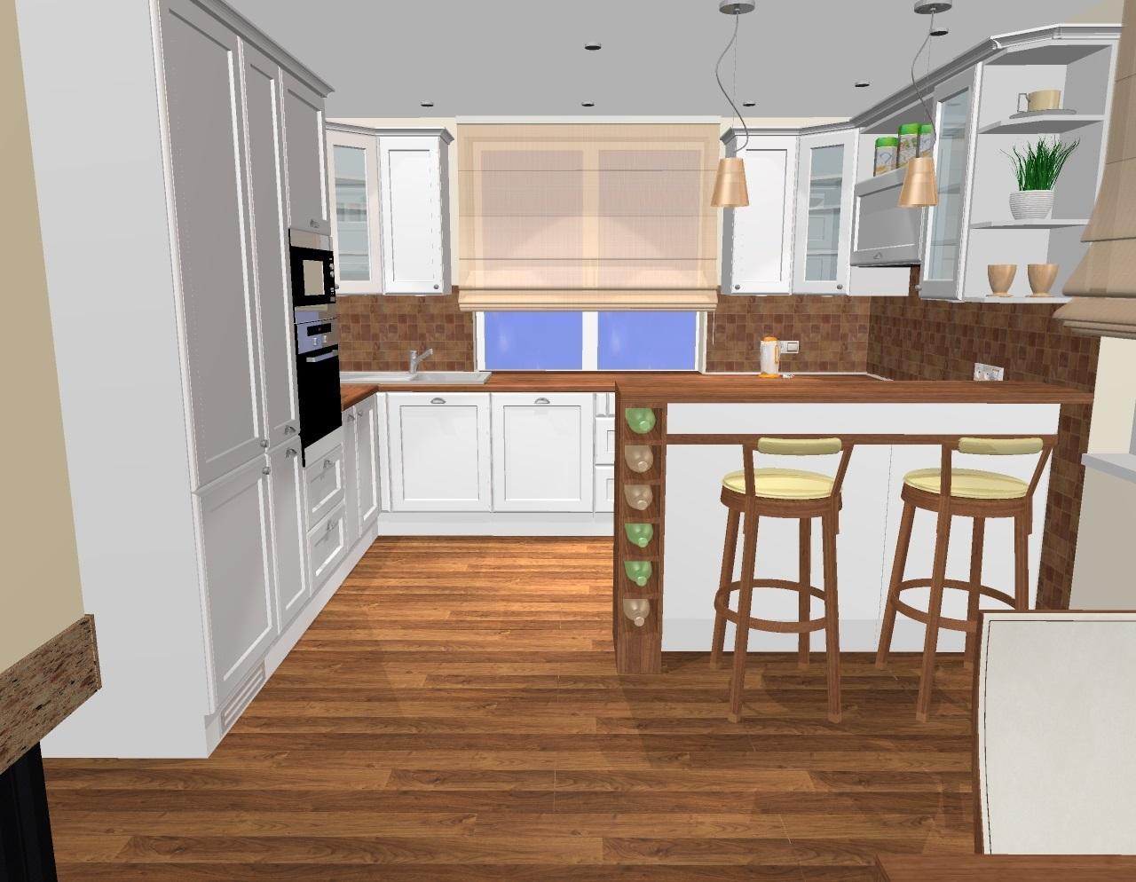 Kuchyňa a obývačka vo vidieckom štýle pre @malekacatko - Grafický návrh kuchyne do rodiného domu vo vidieckom štýle - návrh 4- obr.4 v.horných skriniek 90 cm