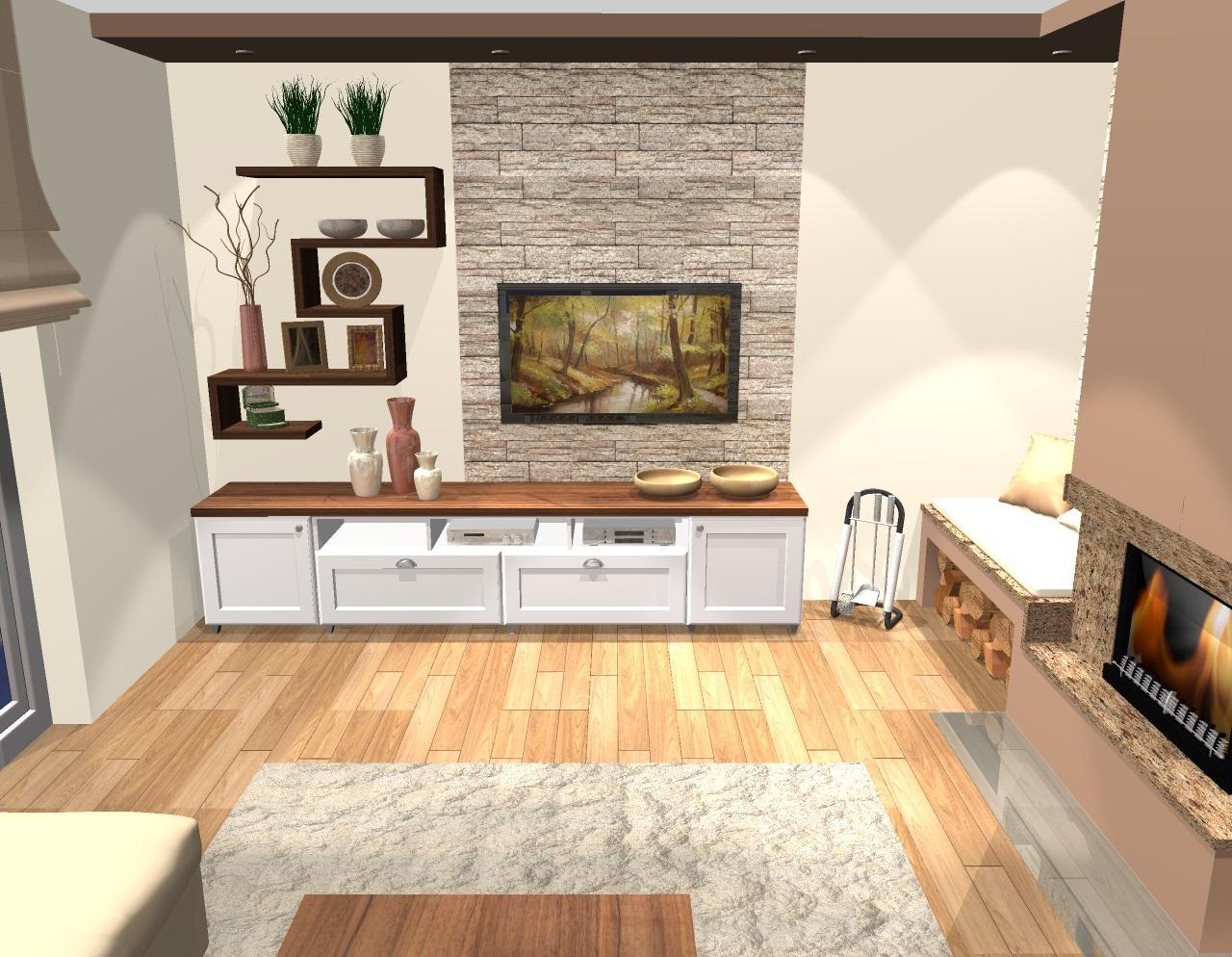 Kuchyňa a obývačka vo vidieckom štýle pre @malekacatko - Grafický návrh obývačky vo vidieckom štýle - obr. 2