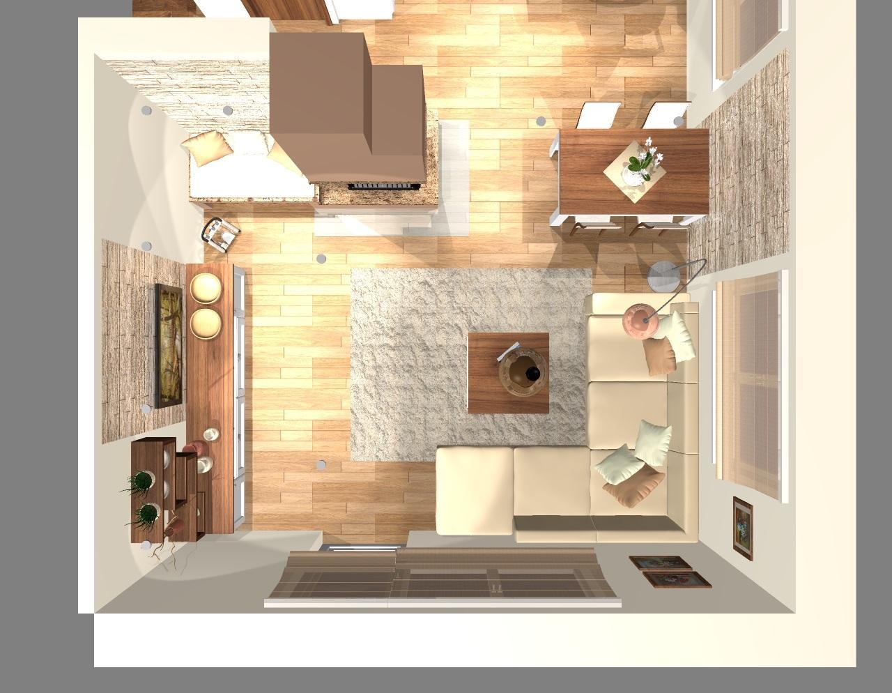 Kuchyňa a obývačka vo vidieckom štýle pre @malekacatko - Grafický návrh obývačky vo vidieckom štýle - obr. 9
