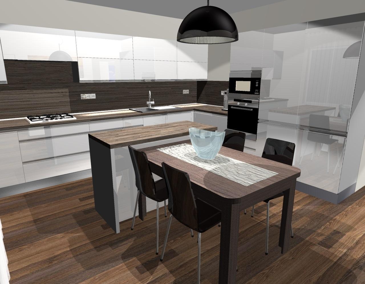 Grafické návrhy kuchynských liniek 2014 - Grafický návrh kuchyne do rodinného domu - verzia 1 - obr.1