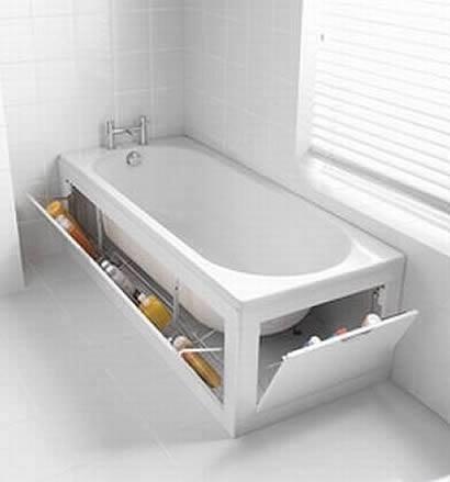 Vychytávky do kuchyne a interiéru - skrytý úložný priestor v okolí vani