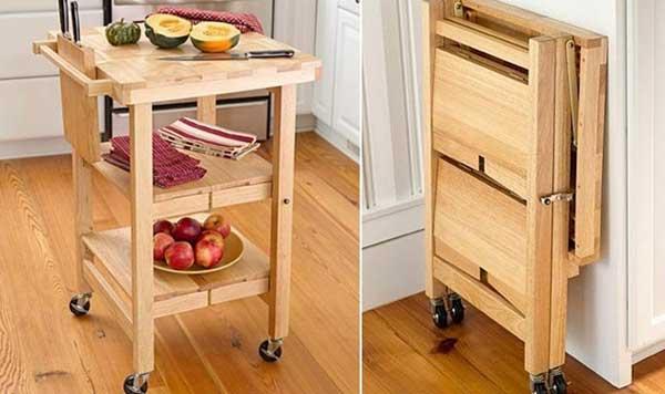 Vychytávky do kuchyne a interiéru - skladací masívny pomocný stolík do kuchyne