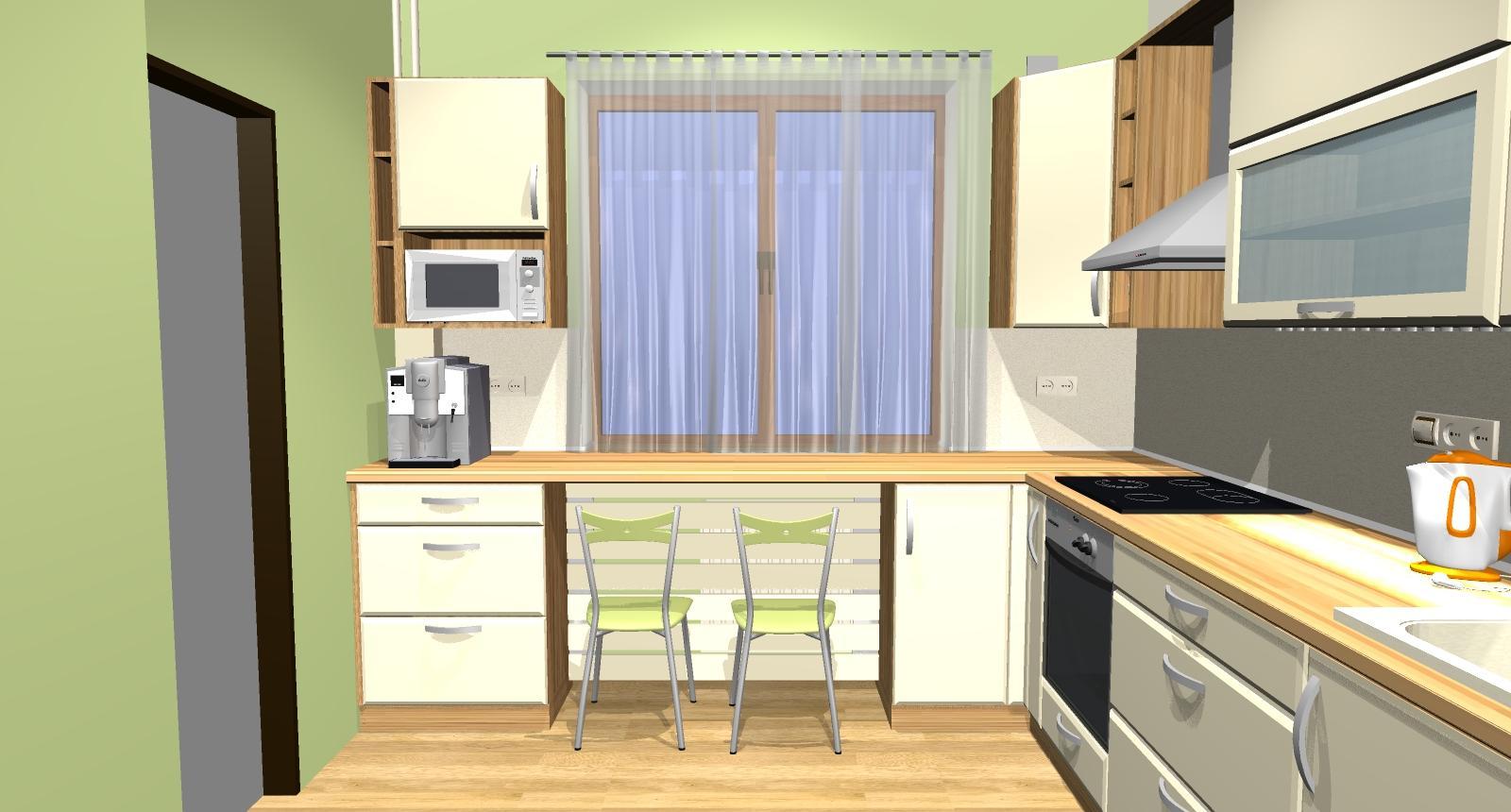 Grafické návrhy kuchynských liniek 2015 - Grafický návrh kuchyne do rodinného domu - obr.2