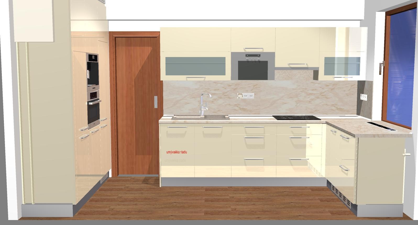 Grafické návrhy kuchynských liniek 2016 - Grafický návrh kuchynskej linky do rodinného domu - obr.4