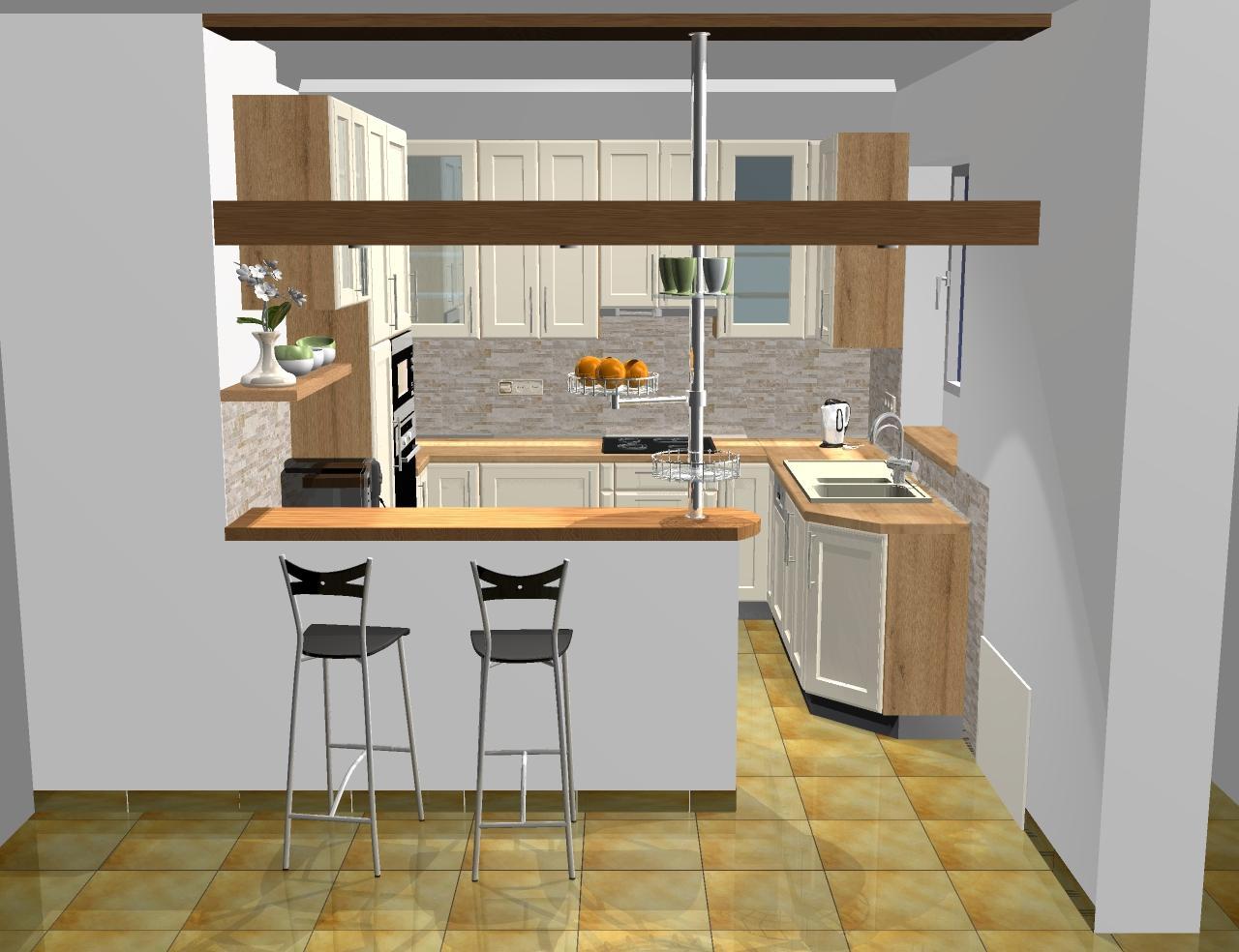 Grafické návrhy kuchynských liniek 2016 - Grafický návrh kuchynskej linky do rodinného domu - verzia 1- obr.1