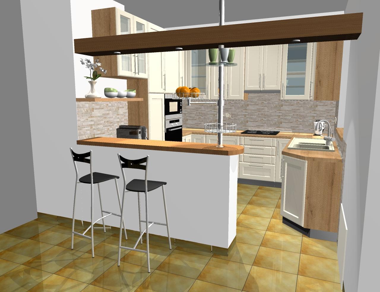 Grafické návrhy kuchynských liniek 2016 - Grafický návrh kuchynskej linky do rodinného domu - verzia 1- obr.2