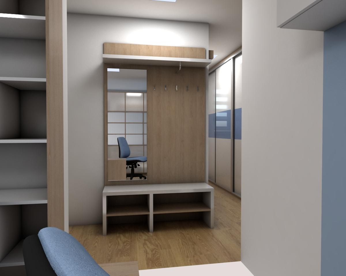 Grafické návrhy bytov - Zariadenie jednoizbového bytu Zvolen - chodba- obr.3