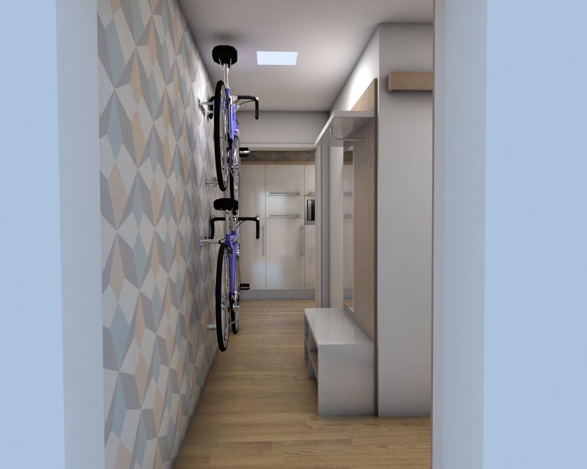Grafické návrhy bytov - Zariadenie jednoizbového bytu Zvolen - chodba- obr.4