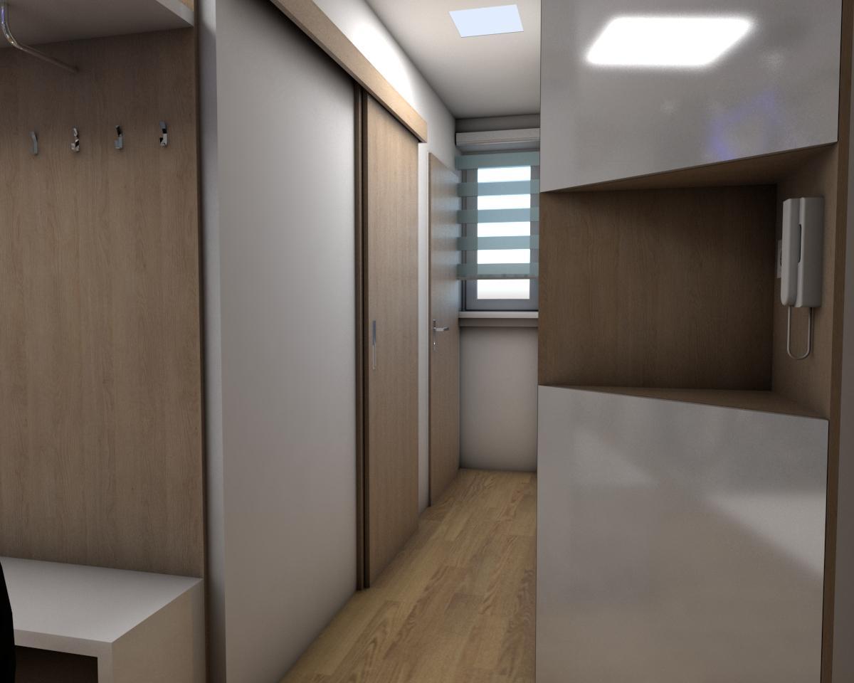Grafické návrhy bytov - Zariadenie jednoizbového bytu Zvolen - chodba- obr.5
