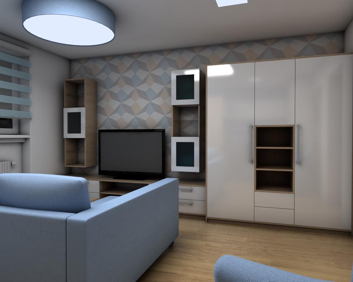 Grafické návrhy bytov - Zariadenie jednoizbového bytu Zvolen - obývačka+spálňa - obr.1
