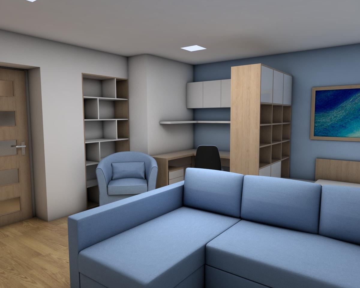 Grafické návrhy bytov - Zariadenie jednoizbového bytu Zvolen - obývačka+spálňa - obr.3