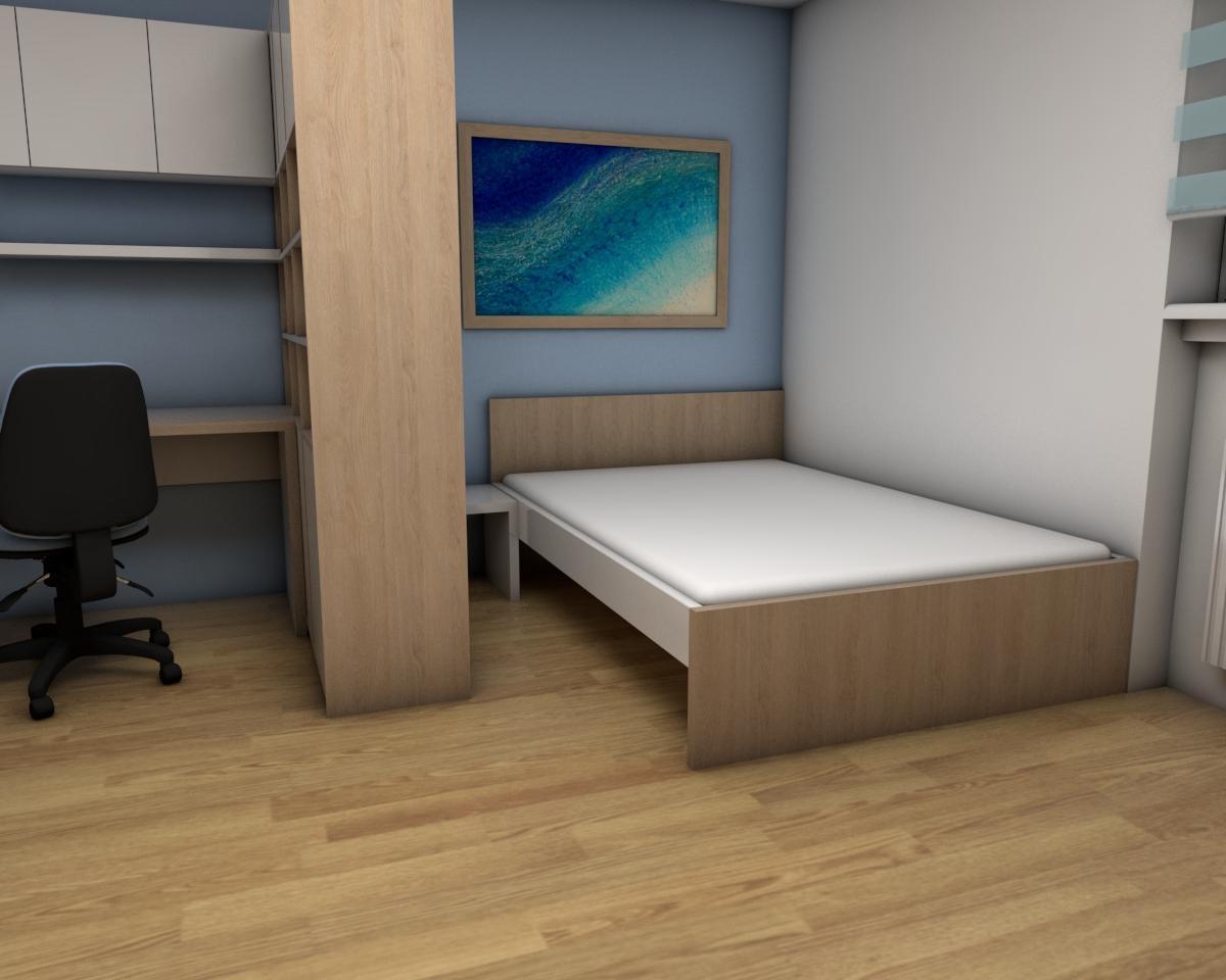 Grafické návrhy bytov - Zariadenie jednoizbového bytu Zvolen - obývačka+spálňa - obr.4