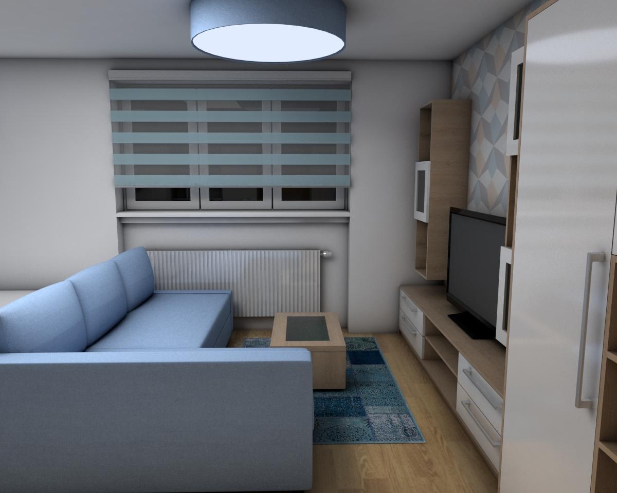 Grafické návrhy bytov - Zariadenie jednoizbového bytu Zvolen - obývačka+spálňa - obr.2