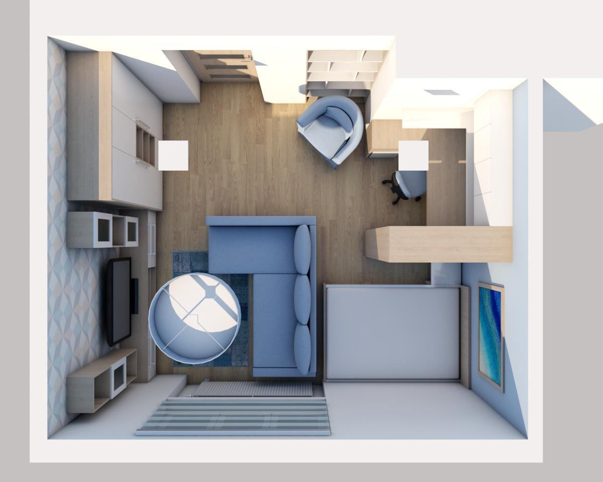 Grafické návrhy bytov - Zariadenie jednoizbového bytu Zvolen - obývačka+spálňa - obr.5