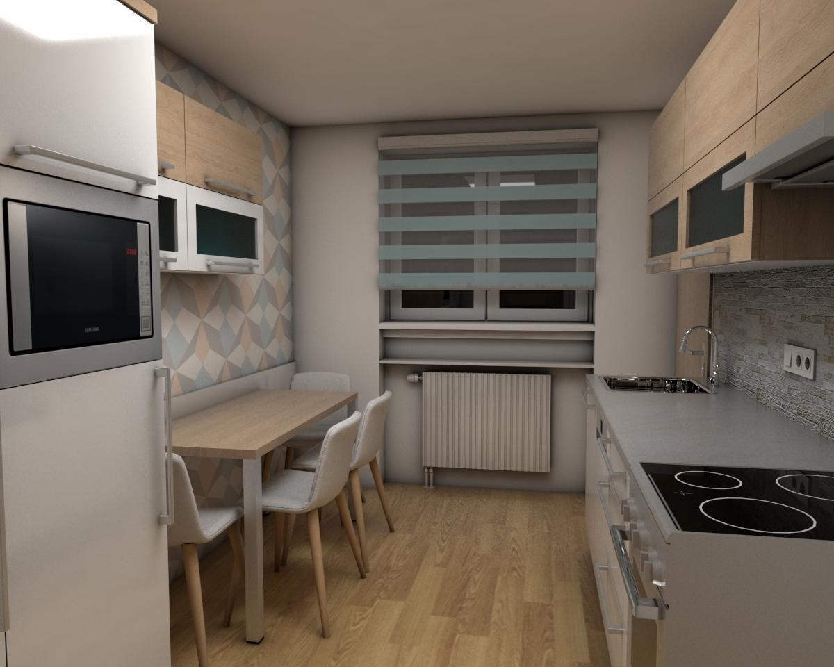 Grafické návrhy bytov - Zariadenie jednoizbového bytu Zvolen - kuchyňa - obr.3