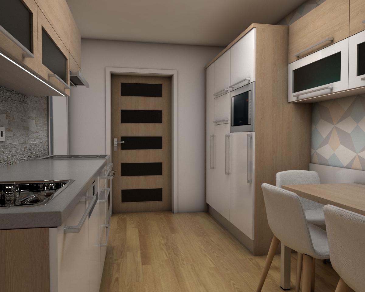 Grafické návrhy bytov - Zariadenie jednoizbového bytu Zvolen - kuchyňa - obr.4