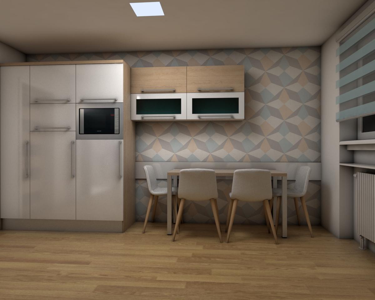 Grafické návrhy bytov - Zariadenie jednoizbového bytu Zvolen - kuchyňa - obr.2