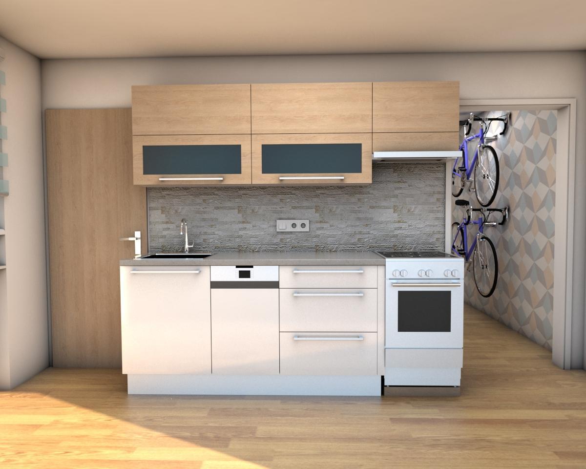 Grafické návrhy bytov - Zariadenie jednoizbového bytu Zvolen - kuchyňa - obr.1