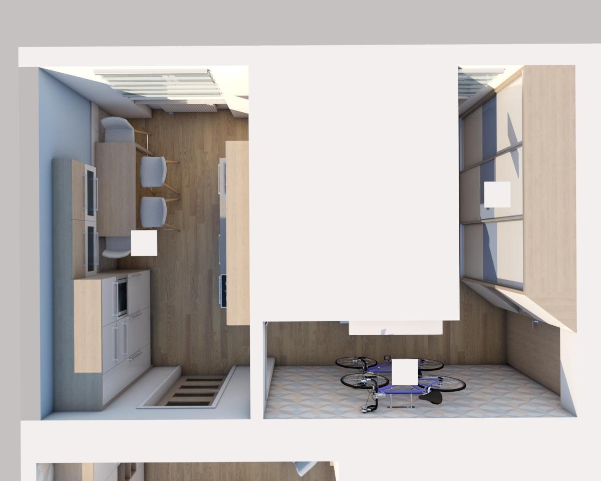 Grafické návrhy bytov - Zariadenie jednoizbového bytu Zvolen - kuchyňa + chodba - pôdorys