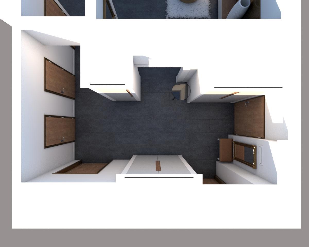 Grafické návrhy bytov - Návrh zariadenia v trojizbovom byte vo Zvolene - chodba - obr.1