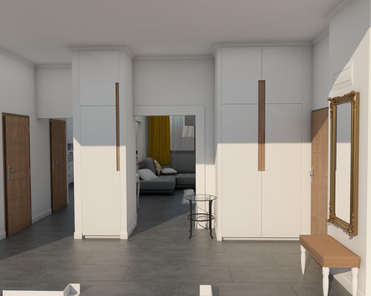 Grafické návrhy bytov - Návrh zariadenia v trojizbovom byte vo Zvolene - chodba - obr.2