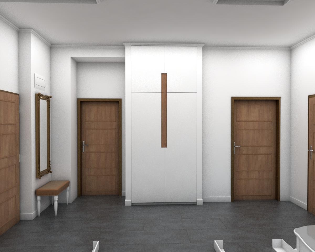 Grafické návrhy bytov - Návrh zariadenia v trojizbovom byte vo Zvolene - chodba - obr.3