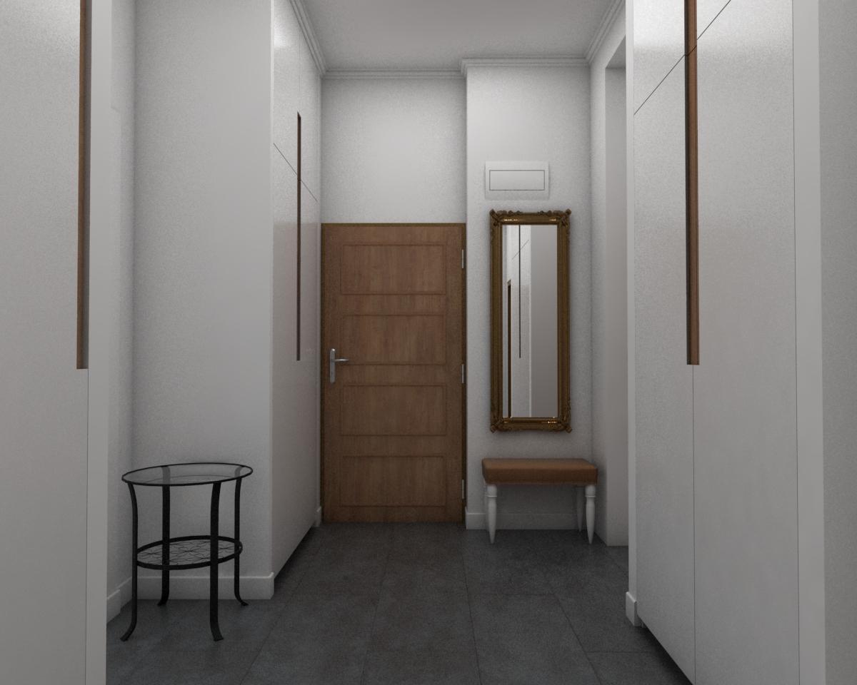 Grafické návrhy bytov - Návrh zariadenia v trojizbovom byte vo Zvolene - chodba - obr.4
