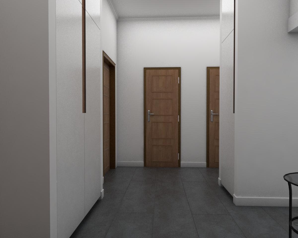 Grafické návrhy bytov - Návrh zariadenia v trojizbovom byte vo Zvolene - chodba - obr.5