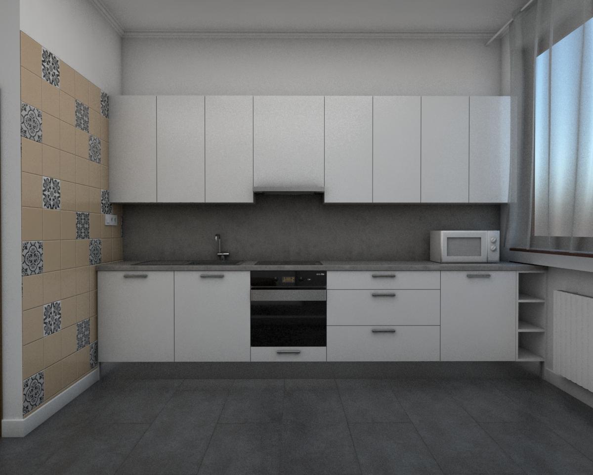 Grafické návrhy bytov - Návrh zariadenia v trojizbovom byte vo Zvolene - kuchyňa - obr.1