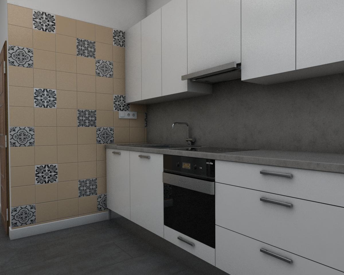 Grafické návrhy bytov - Návrh zariadenia v trojizbovom byte vo Zvolene - kuchyňa - obr.2