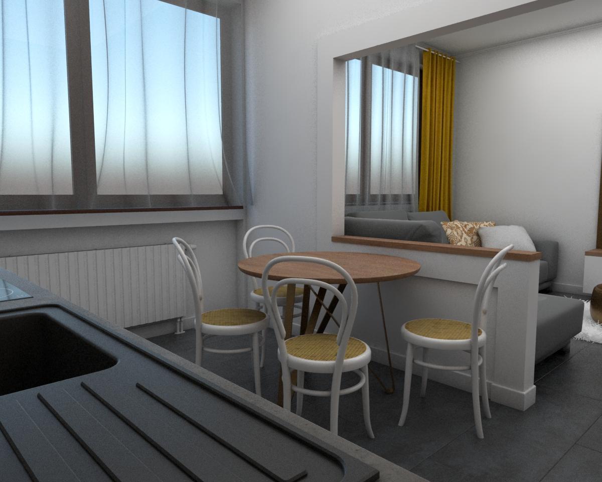 Grafické návrhy bytov - Návrh zariadenia v trojizbovom byte vo Zvolene - kuchyňa - obr.3