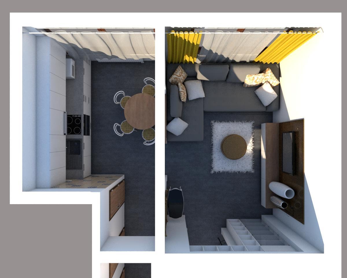 Grafické návrhy bytov - Návrh zariadenia v trojizbovom byte vo Zvolene - pôdorys kuchyňa + obývačka