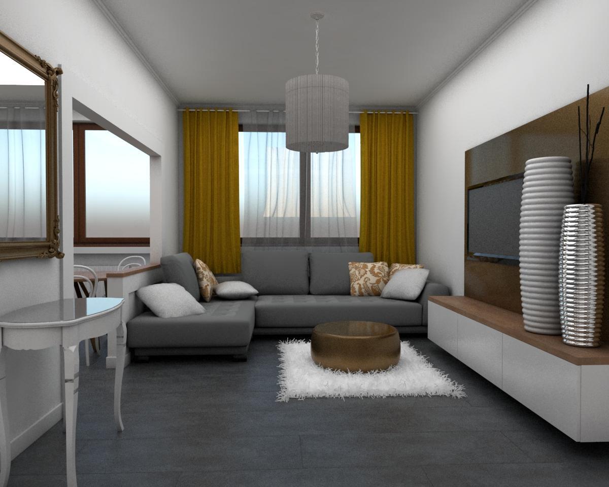 Grafické návrhy bytov - Návrh zariadenia v trojizbovom byte vo Zvolene - obývačka - obr.1