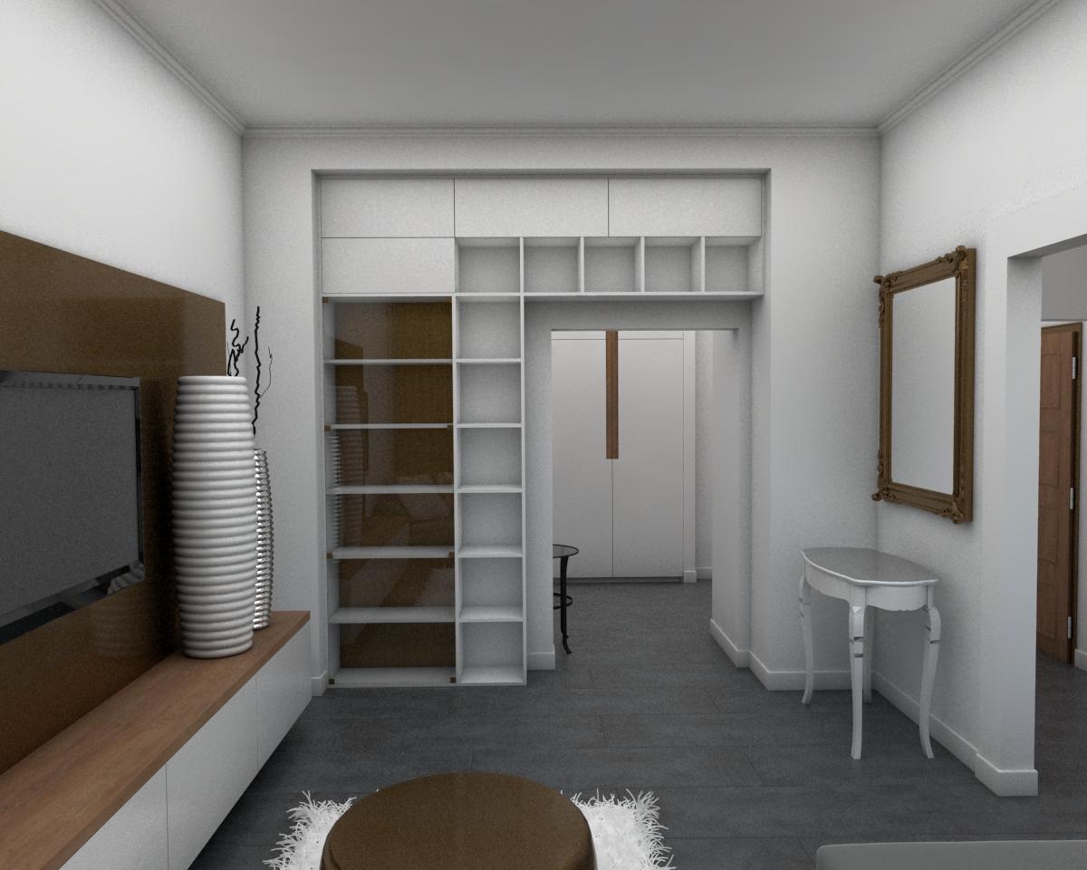 Grafické návrhy bytov - Návrh zariadenia v trojizbovom byte vo Zvolene - obývačka - obr.2