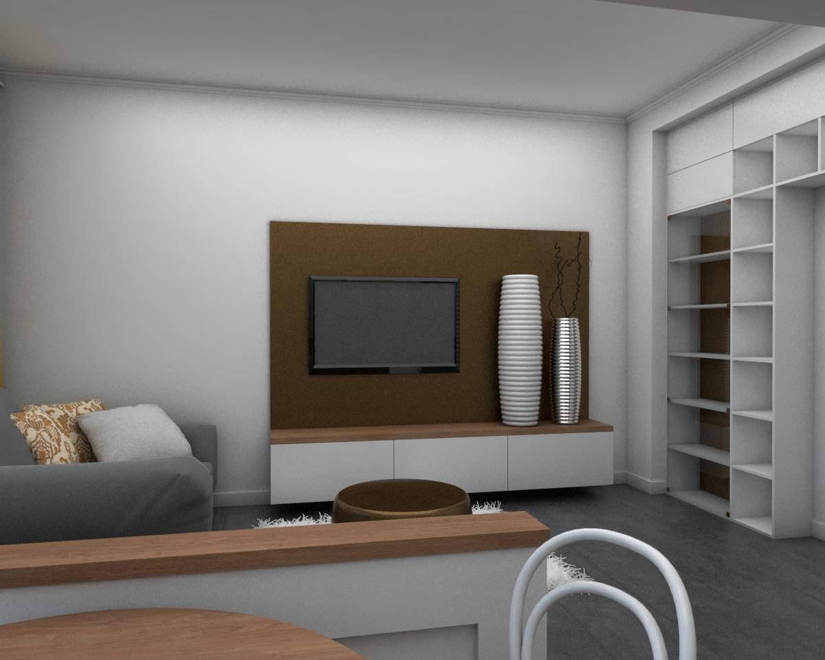 Grafické návrhy bytov - Návrh zariadenia v trojizbovom byte vo Zvolene - obývačka - obr.3