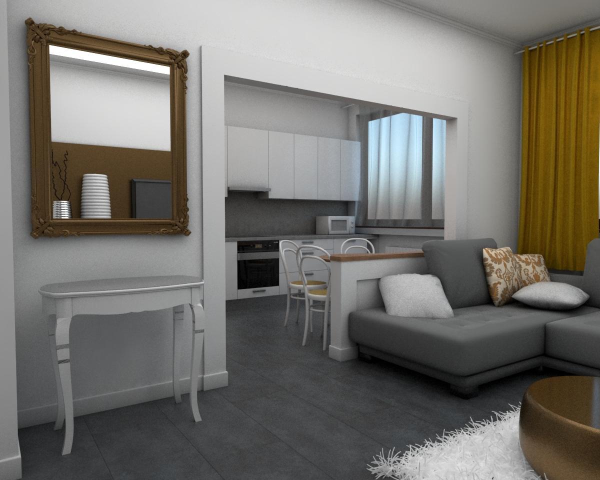 Grafické návrhy bytov - Návrh zariadenia v trojizbovom byte vo Zvolene - obývačka - obr.4