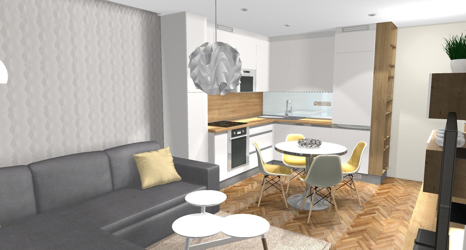Grafické návrhy bytov - Zariadenie dvojizbového bytu vo Zvolene na Zlatom potoku, ktorý sa prerobí na trojizbový - kuchyňa+obývačka - obr.1