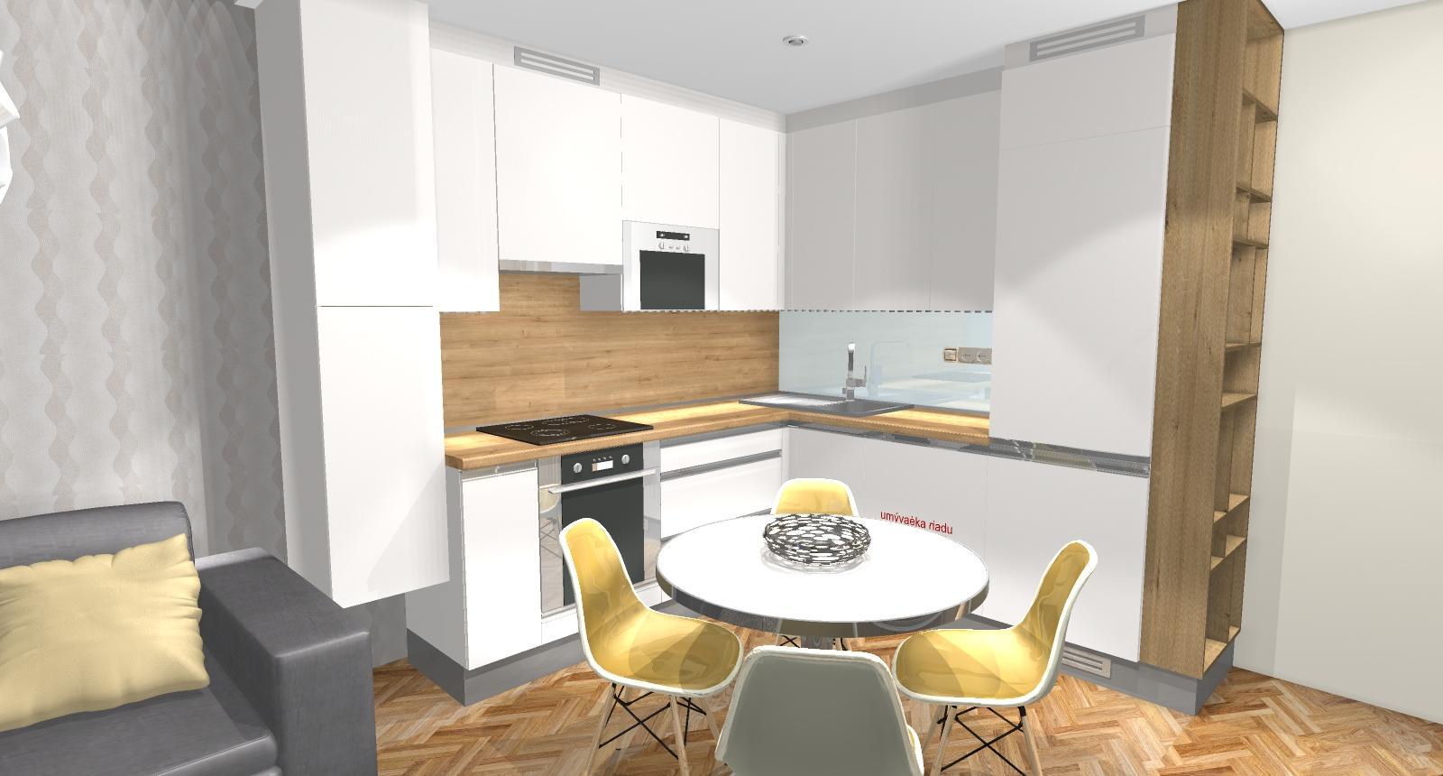 Grafické návrhy bytov - Zariadenie dvojizbového bytu vo Zvolene na Zlatom potoku, ktorý sa prerobí na trojizbový - kuchyňa+obývačka - obr.2