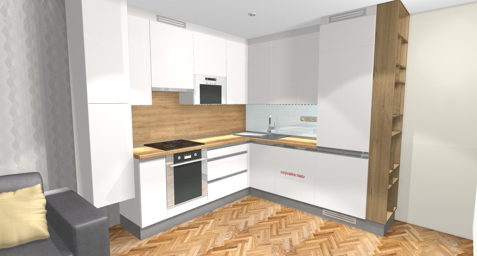 Grafické návrhy bytov - Zariadenie dvojizbového bytu vo Zvolene na Zlatom potoku, ktorý sa prerobí na trojizbový - kuchyňa+obývačka - obr.3