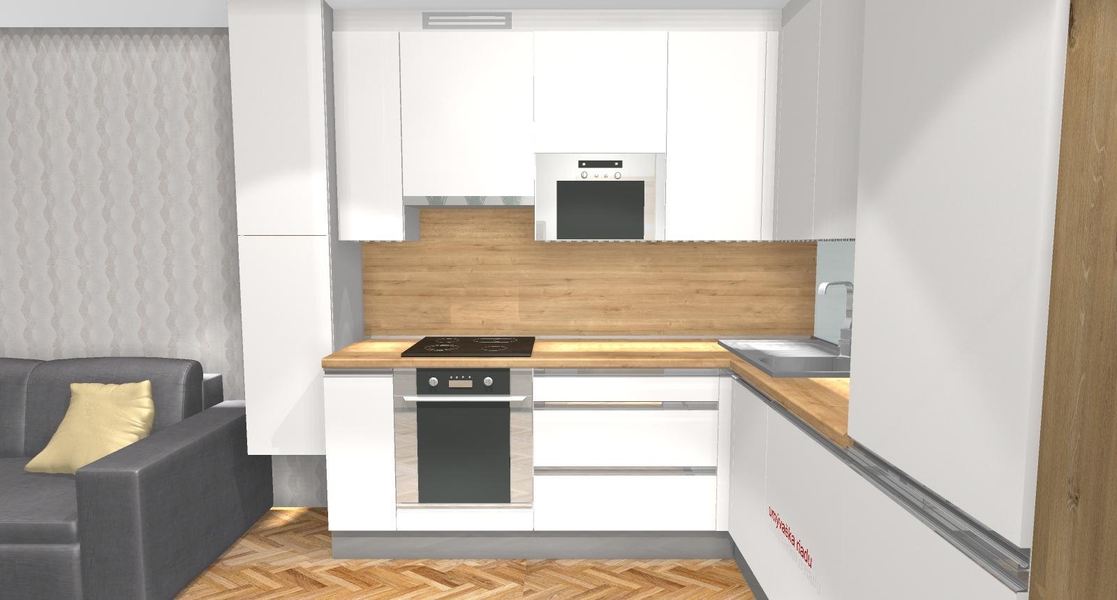 Grafické návrhy bytov - Zariadenie dvojizbového bytu vo Zvolene na Zlatom potoku, ktorý sa prerobí na trojizbový - kuchyňa+obývačka - obr.4