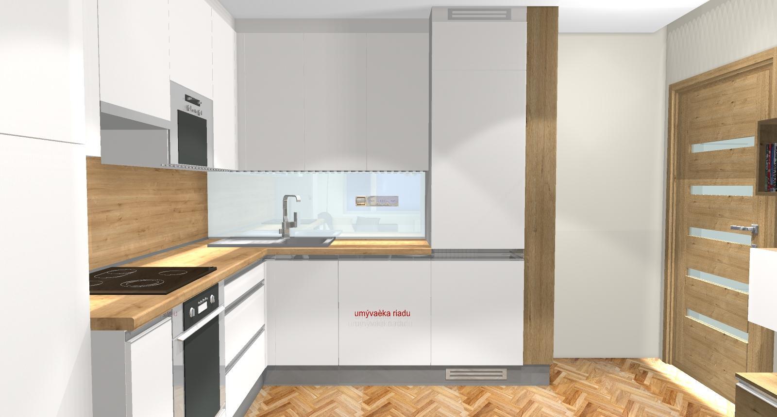 Grafické návrhy bytov - Zariadenie dvojizbového bytu vo Zvolene na Zlatom potoku, ktorý sa prerobí na trojizbový - kuchyňa+obývačka - obr.5