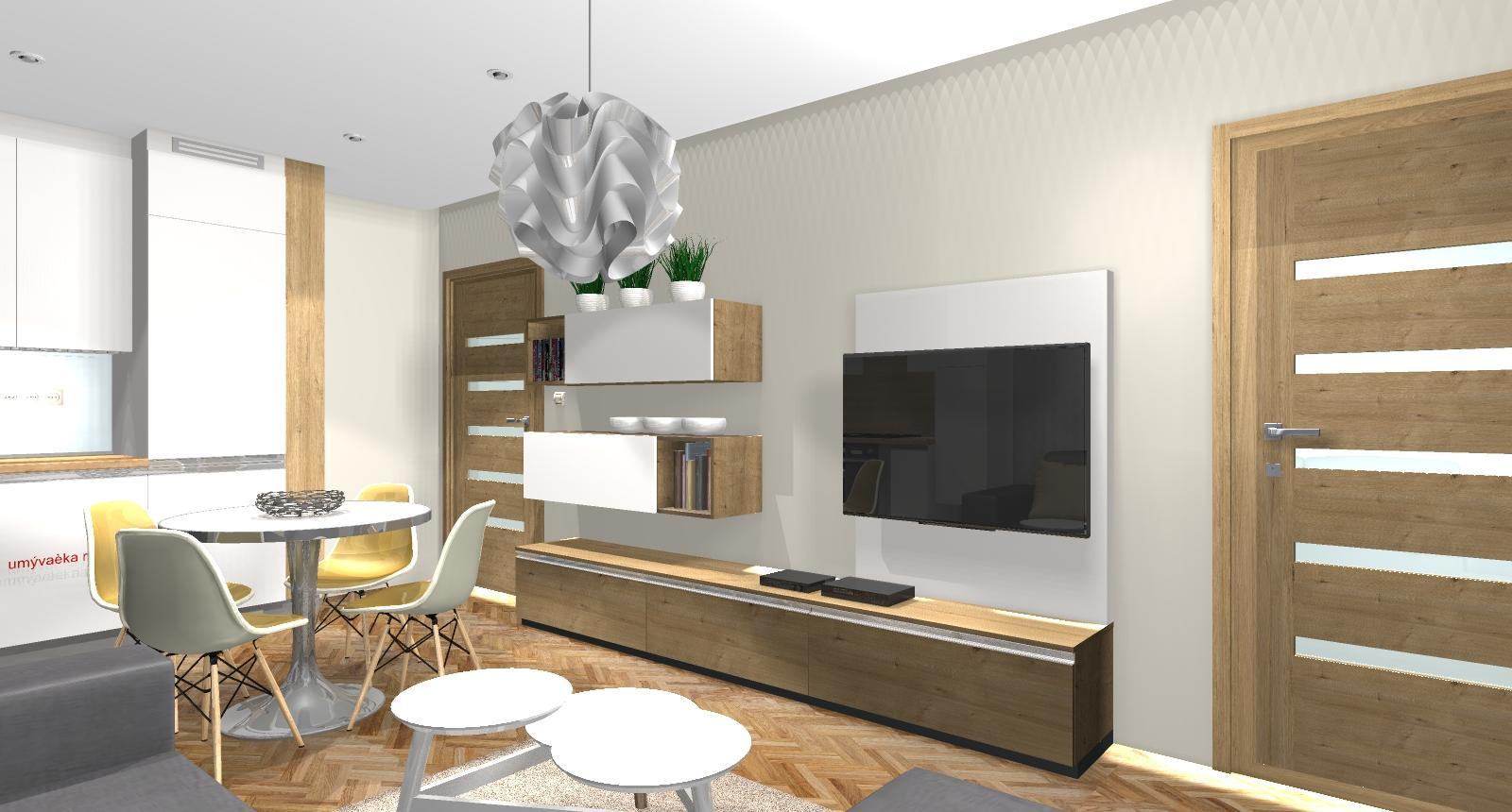 Grafické návrhy bytov - Zariadenie dvojizbového bytu vo Zvolene na Zlatom potoku, ktorý sa prerobí na trojizbový - kuchyňa+obývačka - obr.6
