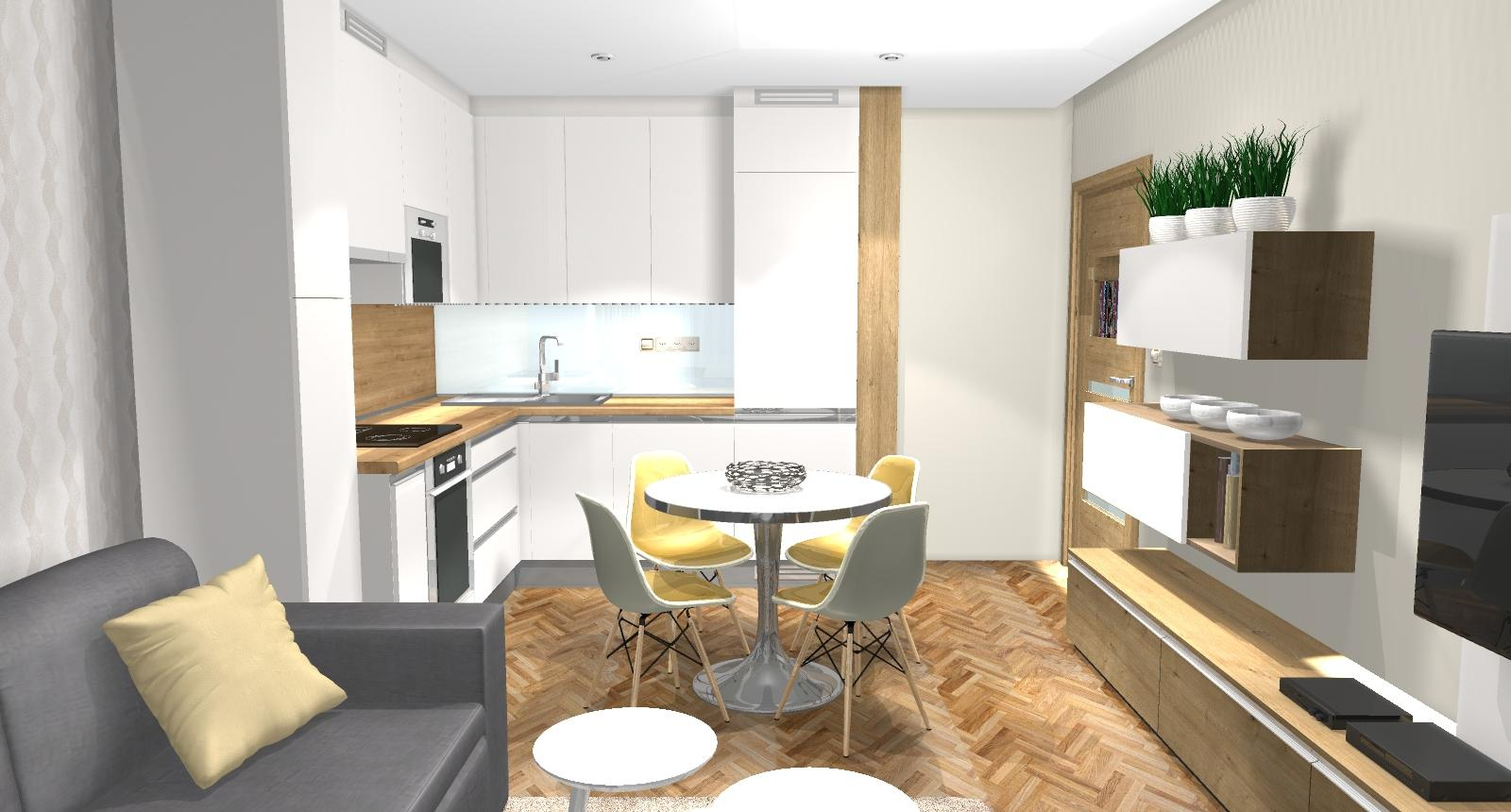 Grafické návrhy bytov - Zariadenie dvojizbového bytu vo Zvolene na Zlatom potoku, ktorý sa prerobí na trojizbový - kuchyňa+obývačka - obr.7